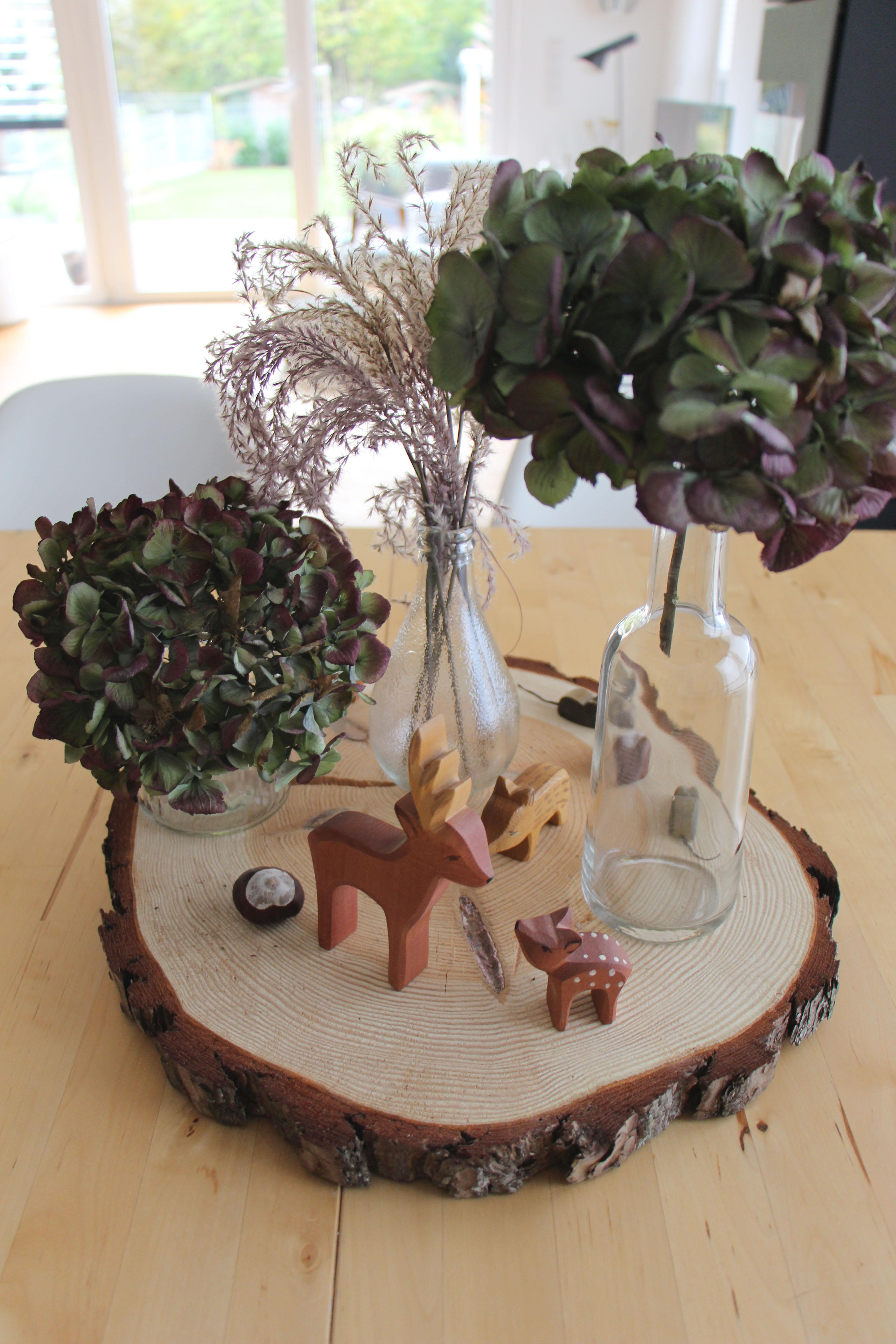 Herbstdeko mit Hortensien
